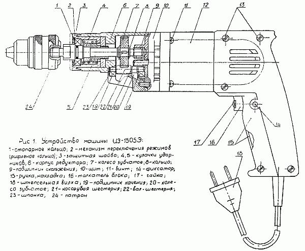 Описание дрели 'ИЭ 1505э'