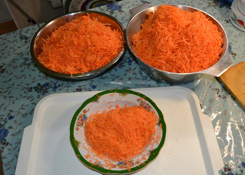 Шинкуем и замораживаем морковь.