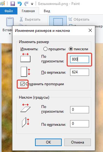 Уменьшим размер фото в Paint в пикселях.
