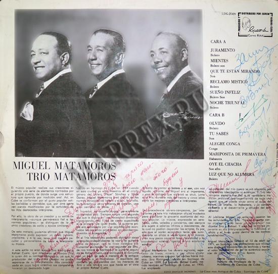 Задняя сторона пластинки : trio Matamoros - 'Musica tradicional Cubana'.