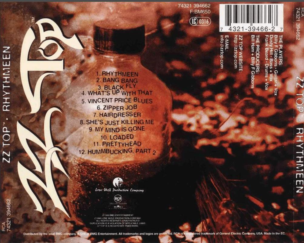 Обратная сторона CD ZZ Top 1996 - 'Rhythmeen'