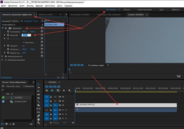 Масштабирование видео в Premiere Pro пример