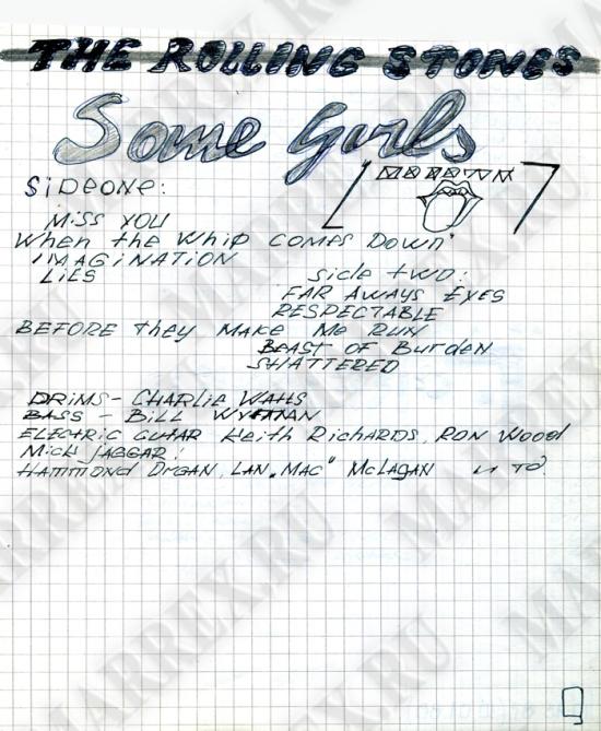 Пластинка The Rolling Stones 'Some Girls' из тетради.