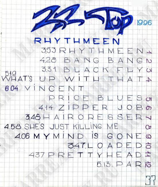 ZZ Top 1996 - 'Rhythmeen' cd из тетради.