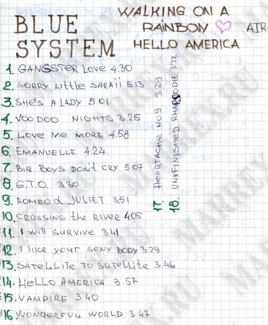 Blue System – Walking On A Rainbow / Hello America  - из тетради.